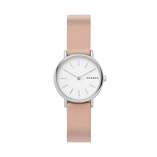 Pink Leather Watch (Skagen Women's 'Signatur' Quartz Stainless Steel and Leather Casual Watch, Color:Pink (Model: SKW2695))