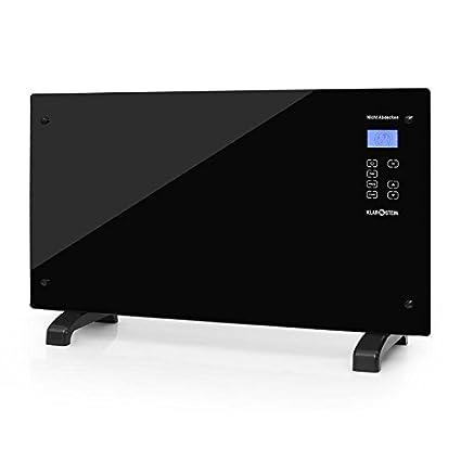 Klarstein HT007GL • Radiador eléctrico • Calefactor • Convector • 2000 W • Vidrio de Seguridad • Panel táctil LED • Varios Modos de Calor • Temporizador ...