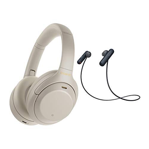 Sony WH-1000XM4 Wireless Noise Canceling Over-Ear Headphones (Silver) with Sony WI-SP500 in-Ear Sports Wireless…