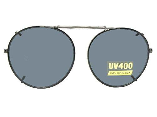 Semi Round NON Polarized Clipon Sunglasses (Black-NON Polarized Gray Lens, 50mm Wide x 47mm Height) ()