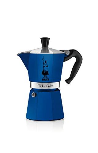 Bialetti Moka Express, Cafetera de Espresso para estufa, de café molido, Azul, 6 Tazas