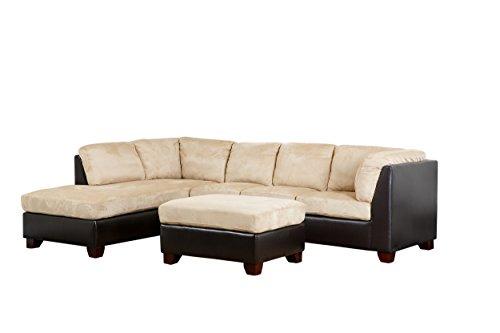 Abbyson Living Santa Maria Sectional Sofa/Ottoman, Cream Charleston Sectional