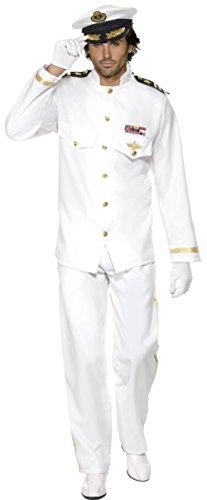 Smiffy's Men's Deluxe White Yacht Boat Captain Sea Ship Navy Admiral Costume Medium 38-40 (Mens Sea Captain Halloween Costume)