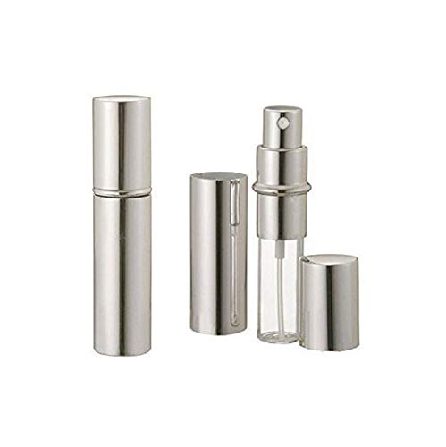 Aquiver Auto Parts New Silver Metallic Perfume Atomizer Spray 10 ML for Purse or Travel Refillable (with Minor Cosmetic Blemishes on The Metal casing)