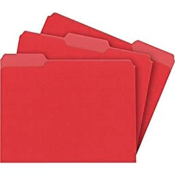 Staples® Colored File Folders, Letter, 3-Tab, Red, 100/Box