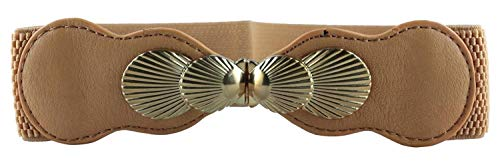 CHOCOLATE PICKLE New Ladies Gold Interlock Buckle Elasticated Wide Belts One Size Tan One Size (3353 Chocolate)