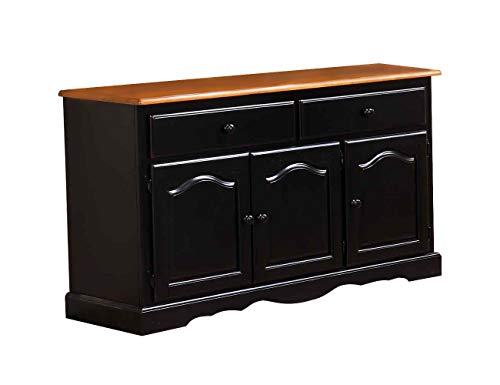 Sunset Trading DLU-22-BUF-BCH Black Cherry Selections Buffet Three Door | Two Drawer Distressed ()