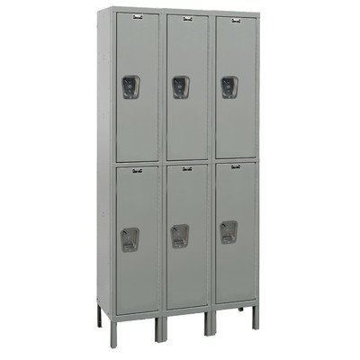 Hallowell UY3558-2-HG Maintenance Free Quiet KD Metal Locker, Unassembled, 3-Wide Grouping, 2 Tier, 36