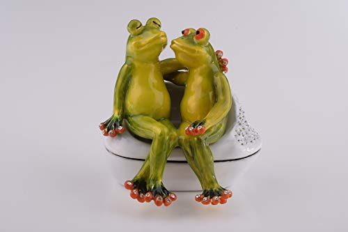 Keren Kopal Frogs in Love Figurine Valentine Trinket Box Decorated with Swarovski Crystals Unique Handmade Gift Home Office Decor ()