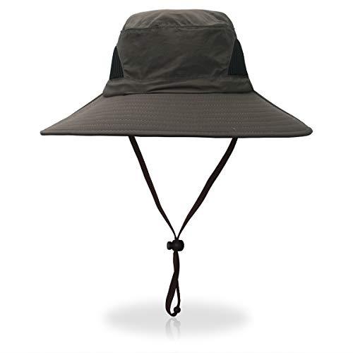 AIKI Men Sun Hat Summer Outdoor Worker Sun Protection UPF 50+ Cap Wide Brim Army Green