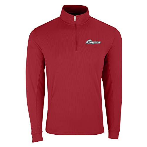 Vantage Minor League Baseball Columbus Clippers MiLB 1/4 Zip Pull Over Top, Sports Red, 3X