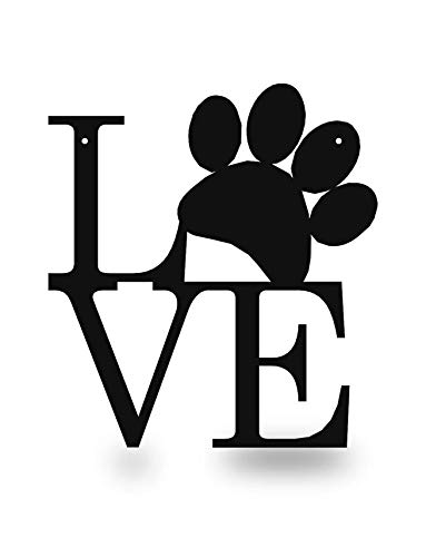 Steel Roots Decor Powder Coated Metal Black Dog Paw Love Wall Art Laser Cut Holes 12 inch