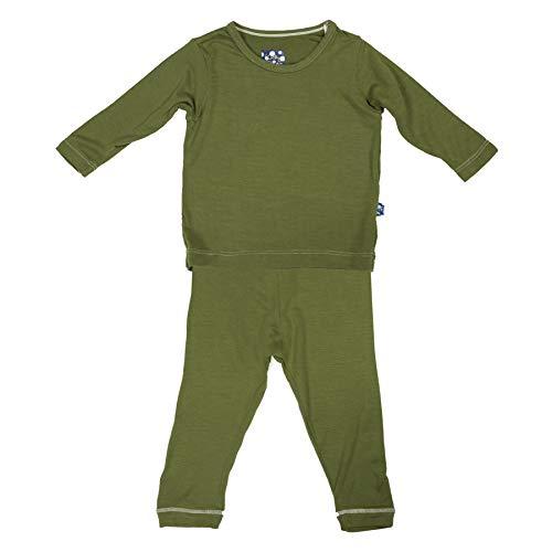 - Kickee Pants Unisex Child Long Sleeve Pajama Set - Moss - 2T