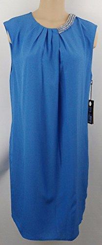 (Phillip Lim Blue Embellished Sleeveless Shift Dress