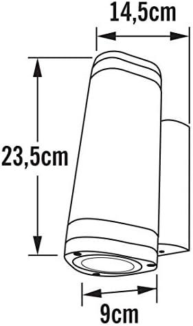 Konstsmide Modena 7512-250 Wandleuchte B: 9cm T: 14,5cm H: 23,5cm / 2x35W / IP44 / lackiertes Aluminium / matt-weiss