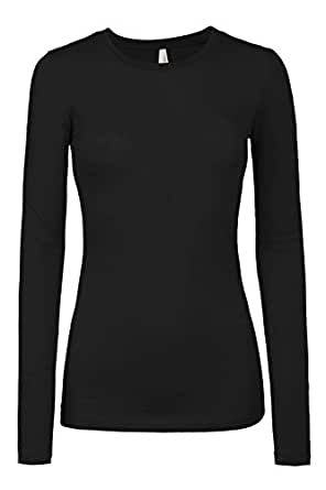 LE3NO Womens Lightweight Fitted Long Sleeve Round Neck Cotton Shirt with Stretch