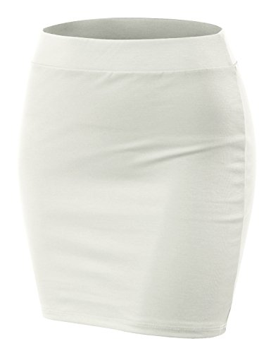 Doublju Stretch Knit Bodycon Mini Skirt for Women with Plus Size Ivory (New Womens Mini Skirt)
