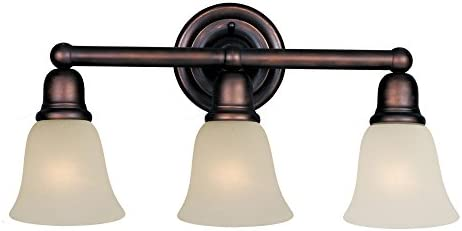 Maxim 11088SVOI Bel Air 3-Light Bath Vanity, Oil Rubbed Bronze Finish, Soft Vanilla Glass, MB Incandescent Incandescent Bulb , 60W Max., Dry Safety Rating, Standard Dimmable, Metal Shade Material, Rated Lumens