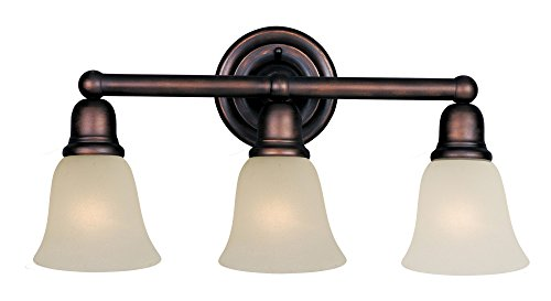 Maxim 11088SVOI Bel Air 3-Light Bath Vanity, Oil Rubbed Bronze Finish, Soft Vanilla Glass, MB Incandescent Incandescent Bulb , 60W Max., Dry Safety Rating, Standard Dimmable, Metal Shade Material, Rated Lumens ()