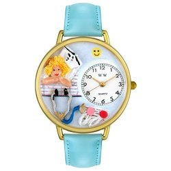 Whimsical Watches Women's G-0620030 Nurse Light Blue Leather Watch