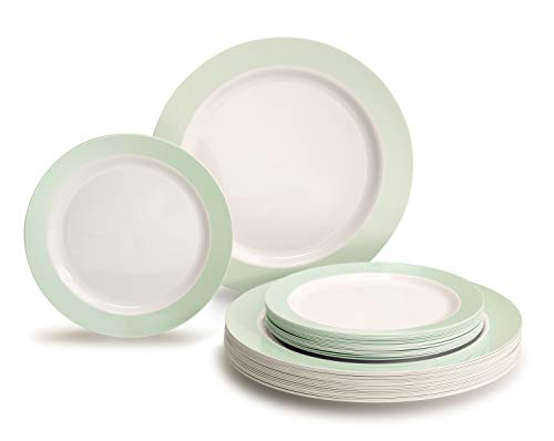 (OCCASIONS 240 Piece Pack Heavyweight Wedding Party Disposable Plastic Plates Set - 120 x 10.25'' Dinner + 120 x 7.5'' Salad/dessert (Rio Collection White & Pearled Green))
