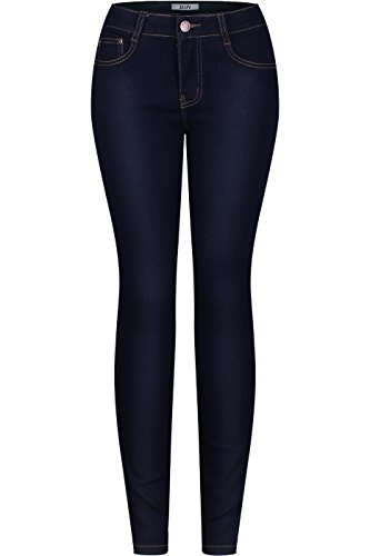 2LUV Women's Stretchy 5 Pocket Indigo Skinny Jeans Indigo 5(UJ-J56)