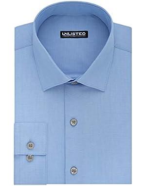 Kenneth Cole Unlisted Men's Regular Solid Dress Shirt, Light Blue, 17