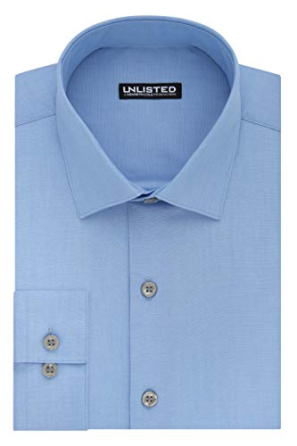 Kenneth Cole Unlisted Men's Dress Shirt Slim Fit Solid ,  Slim Light Blue,  16