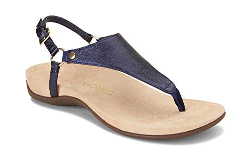 6e4963392e5 Vionic Women s Rest Kirra Backstrap Sandal - Ladies Sandals with Concealed  Orthotic Arch Support Navy Metallic 7.5 M US