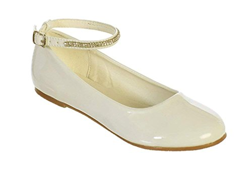 Ivory Big Girls Patent Rhinestone Ankle Strap Flats Dress Shoes Size 4 Youth]()