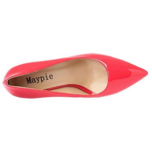 Maypie Pompa Sexy Donne Stiletto Vestito Pesca Delle Brevetto Tallone 4 Classico Rosso Punta Aguzza Pollici Chiuso Alto TtqvR