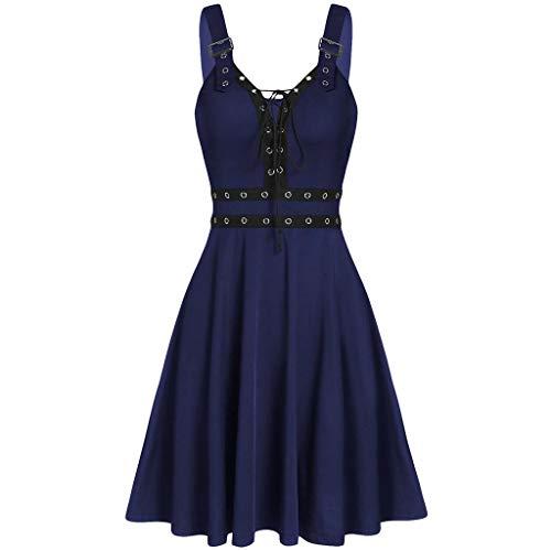 SuperXC Fashion New WomenWomen's Gothic Punk Sleeveless Strap Sling Dress Dark Blue (New Irish Dance Solo Dresses For Sale)