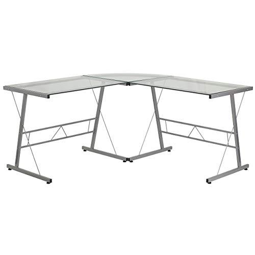 Flash Furniture Glass L-Shape Computer Desk with Silver Fram
