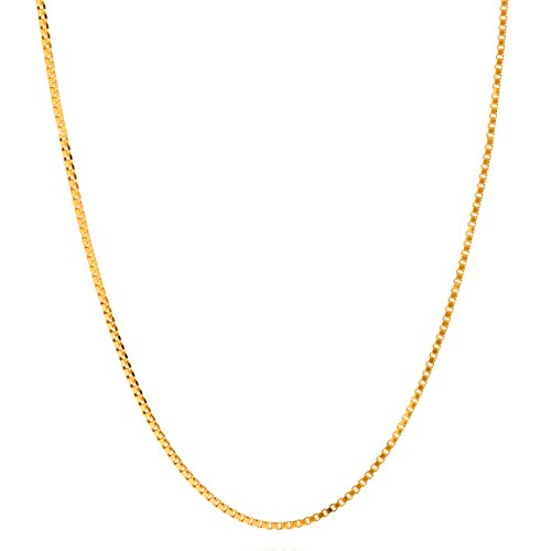 Lifetime Jewelry Box Chain 1.4 mm Pendant Necklace 24K Gold Plated - Made Thin for Charms - Comes in Pouch for Easy Gift Giving - Short Choker - 16 Inches