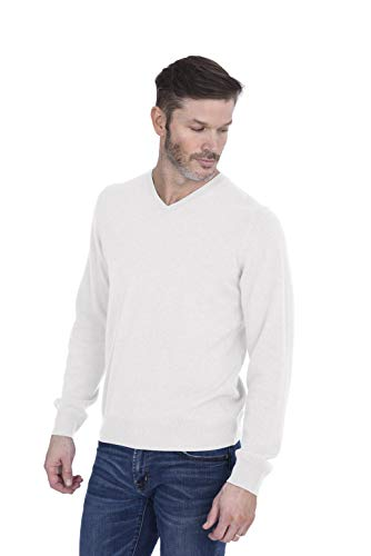 Cashmeren Men's 100% Pure Cashmere Long Sleeve Pullover V Neck Sweater (Ivory, - Cashmere Ivory Sweater