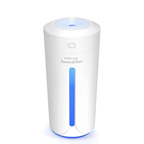 YinQin 230ML Portable USB Mini Air Humidifier 7 Color LED Lights Changing Mini Humidifier for Office Desk Bedroom Home Babies Kids Cars Cool Mist Mini Humidifier Travel Humidifier Quiet (White) by YinQin