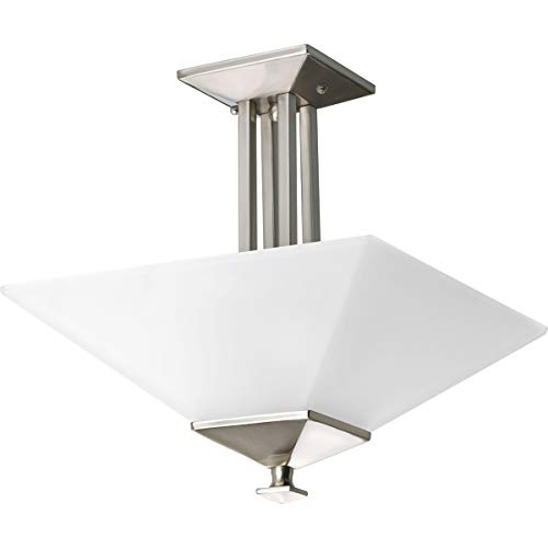 Progress Lighting P3597-09 2-Light Semi-Flush Fixture in Square Etched Glass with Craftsman and Mission Chain and Ceiling Mounts Both Included, Brushed Nickel