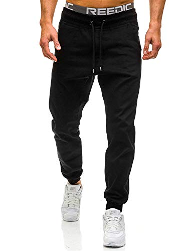 - Dearest-Love Pants Slim Solid Color Elasticity Men Casual Pants Man Trousers Designer Mens Joggers M-3XL,XXX-Large,Black