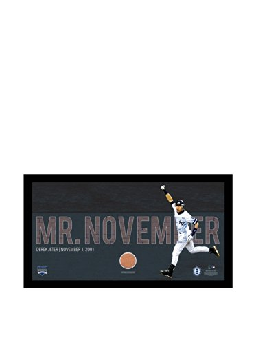 Overlay Framed (MLB New York Yankees Derek Jeter Moments Mr. November Collage Text Overlay with Game Used Dirt Framed 9.5x19)