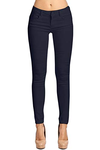 (2LUV Women's Stretchy 5 Pocket Skinny Color Uniform Pants Navy)