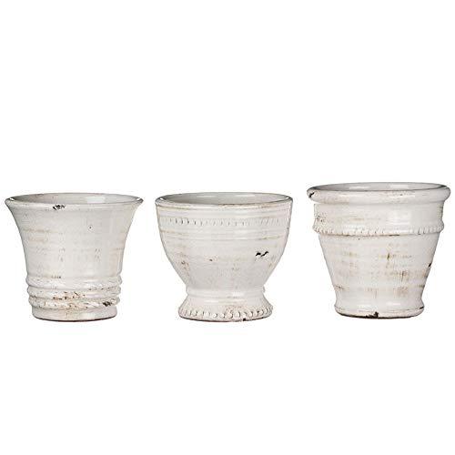 Sullivans Petite White Ceramic Vase Set, Various Sizes, Distressed White, Set of 3 (CM2585)