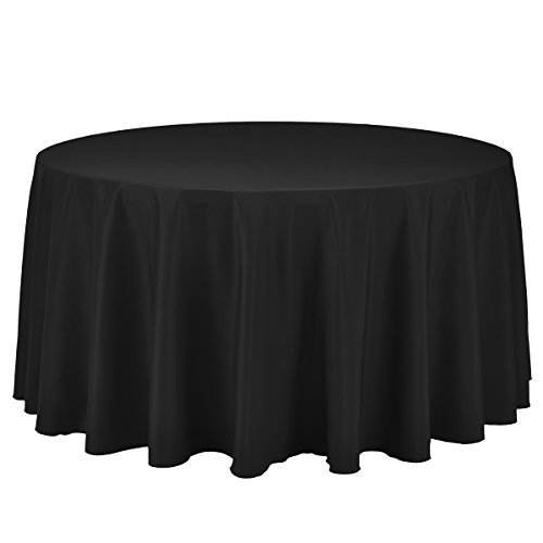 Remedios 120-inch Round Polyester Tablecloth Table Cover - Wedding Restaurant Party Banquet Decoration, Black