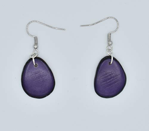 Tagua Nut Earrings in Purple ()