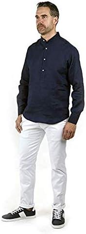Enrique Pellejero Camisa POLERA Cuello Mao Lino Azul Marino (XXL ...