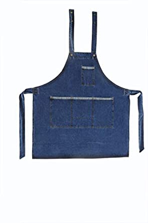 Club 21 Denim Apron with Adjustable Neck and 3 Front Pockets (Blue, Free Size)