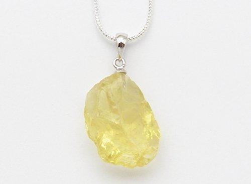 """Fundamental Rockhound: Natural Rough Lemon Quartz Pendant Necklace with 18"""" chain size lg"""