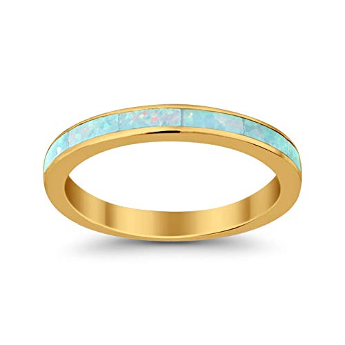 3mm Full Eternity Engagement Band Ring Lab Created White Opal Yellow Tone plated 925 Sterling Silver, Size-7