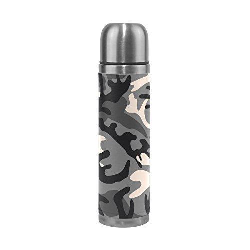 ALAZA Camouflage Brown Stainless Steel Water Bottle Leak Proof Double Wall Vacuum Insulated Thermos Flask Genuine Leather Cover 17 Oz(500ml)