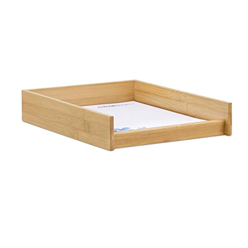 (Relaxdays Wooden Document Filing Tray, Stackable, DIN A4 Letter Rack, Office, Flat, Desk, Bamboo, 6x25x33 cm, Natural, 6 x 25 x 33)