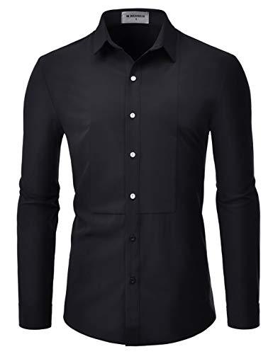 NEARKIN (NKS901 Mens Long Sleeve Trendy Wrinkle Free Stretchy Tuxedo Basic Shirts Black US XL(Tag Size XL) ()